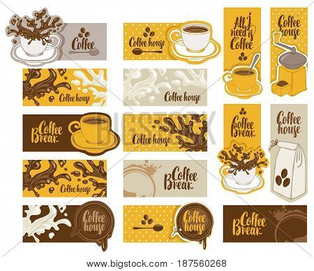 set of banners on the theme of coffee with cup and saucer coffee grinder coffee splashes and spots in retro style with inscriptions