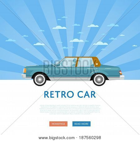 Website design with classic retro sedan. Vintage old school family auto vehicle on blue striped background banner. Auto business, sale or rent transport online service vector illustration concept