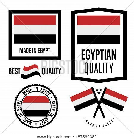 Egypt quality isolated label set for goods. Exporting stamp with egyptian flag, nation manufacturer certificate element, country product vector emblem. Made in Egypt badge collection.