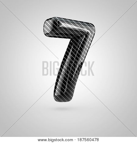 Black Carbon Number 7 Isolated On White Background