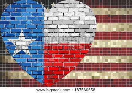Mixed Flags of the USA and Texas