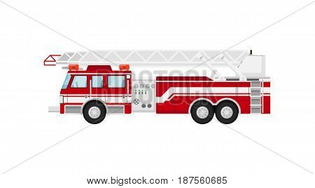 Fire truck isolated vector illustration on white background. Service auto vehicle, city emergency transport, urban roadside assistance car.