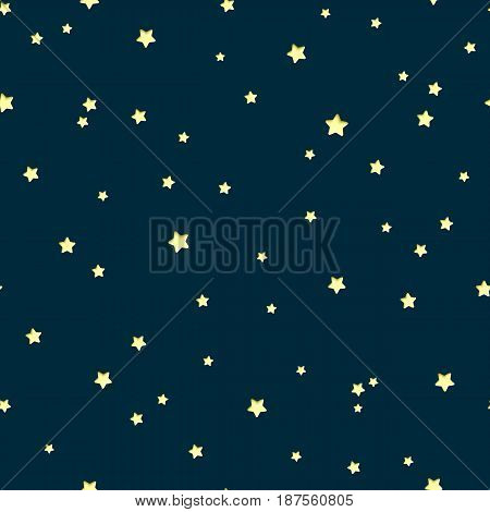 Vector seamless pattern with paper cut stars on night background. Astronomy cartoon school background