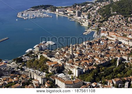 Aerial view Split city center old town with Diocletian palace port and marine