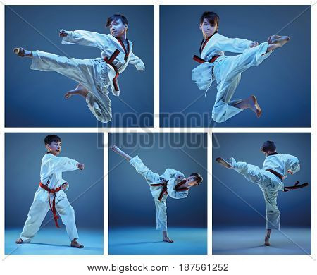 The studio shot of kids training karate martial arts on blue backlground. Collage
