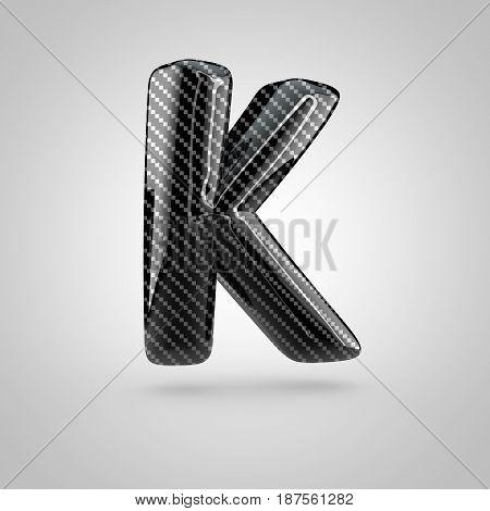 Black Carbon Letter K Uppercase Isolated On White Background