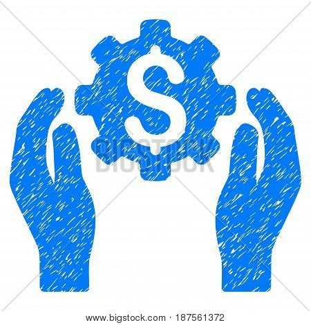 Grunge Banking Maintenance Hands icon with grunge design and unclean texture. Unclean vector blue pictogram for rubber seal stamp imitations and watermarks. Draft emblem symbol.