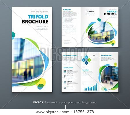 Business tri fold brochure design. Blue orange corporate business template for tri fold flyer. Layout with modern square photo and abstract background. Creative concept folded flyer or brochure.