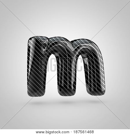 Black Carbon Letter M Lowercase Isolated On White Background