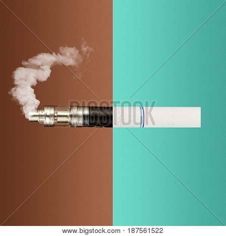 The collage from vape and cigarettes. The concept of old and new technologies