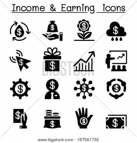 Investment Income & earning icon set Vector illustration Graphic design