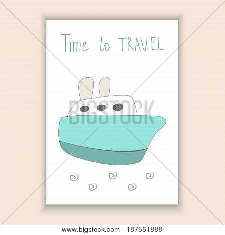 Cute hand drawn card with ship. Printable template