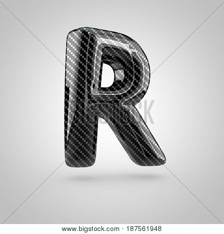 Black Carbon Letter R Uppercase Isolated On White Background