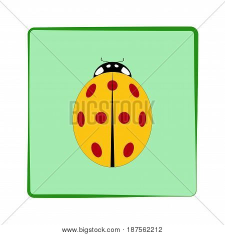 Ladybird isolated. Illustration ladybug in green frame. Cute colorful sign red insect symbol spring summer garden. Template for t shirt apparel card poster. Design element. Vector illustration