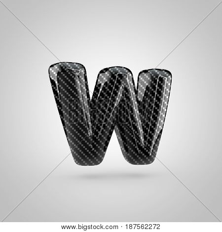 Black Carbon Letter W Lowercase Isolated On White Background