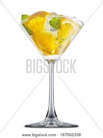 fresh fruit alcohol cocktail or mocktail in martini glass with ice cubes, orange and mint isolated on white background