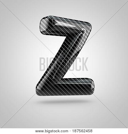 Black Carbon Letter Z Uppercase Isolated On White Background