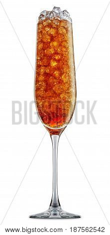 fresh fruit alcohol cocktail or soda mocktail with ice cubes in champagne glass with cola beverage isolated on white background