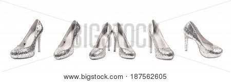 Shining silver high-heeled footwear shoe isolated over the white background, set of five different foreshortenings