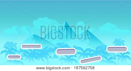 Seamless cartoon nature landscape with different platforms and separated layers for games.Ready for parallax effect, Vector illustration for your design.