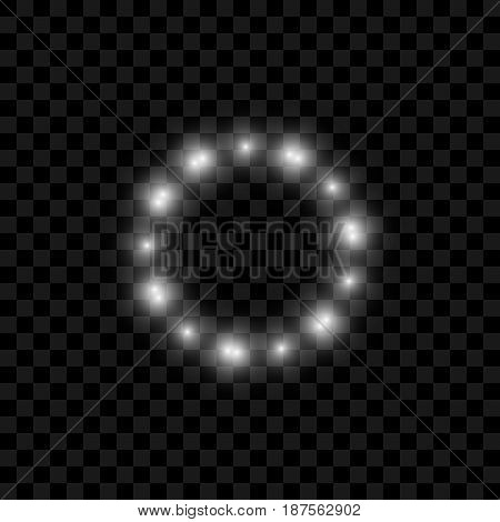 Realistic vector Circle of Lights with Glowing. Magic Flare Effect