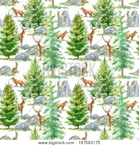 Floral seamless pattern of a wild animal, spruce and stone.Deer, fox and hare.Watercolor hand drawn illustration.White background.