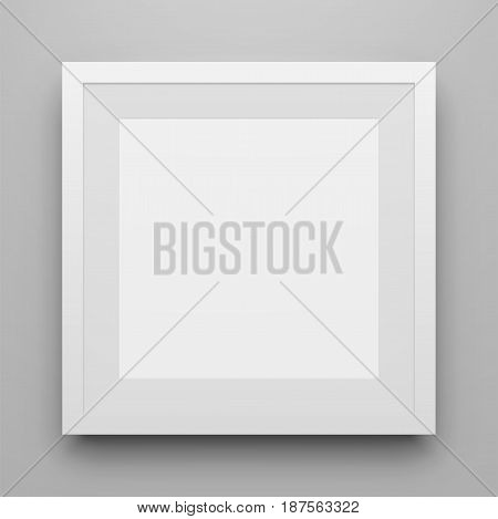 White square Picture Frame vector Mockup with Shadow