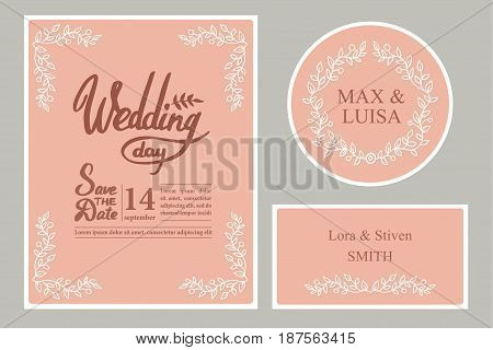 A set of graphic elements for the wedding on a pink background. Frames of leaf. twigs. Invitation cards