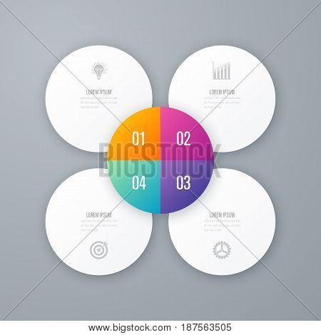 Vector for infographic. Template for cycle diagram, graph, presentation and round chart. Business concept with 4 options, parts, steps or processes. Data visualization.