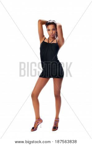Young slim go-go dancer isolated on white background