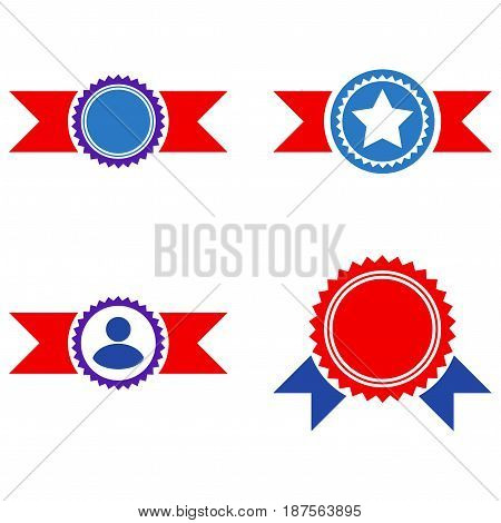 Award Seal With Ribbons flat vector pictogram collection. An isolated icons on a white background.