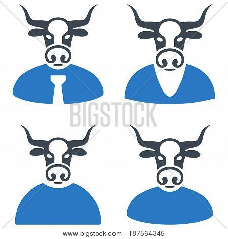 Bull Boss flat vector icon collection. An isolated icons on a white background.