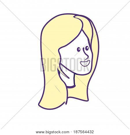 happy cute woman face with hairstyle, vector illustration