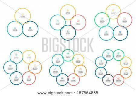 Business infographics. Pie charts with 3, 4, 5, 6, 7, 8 steps. Connected circles. Vector infographic templates.