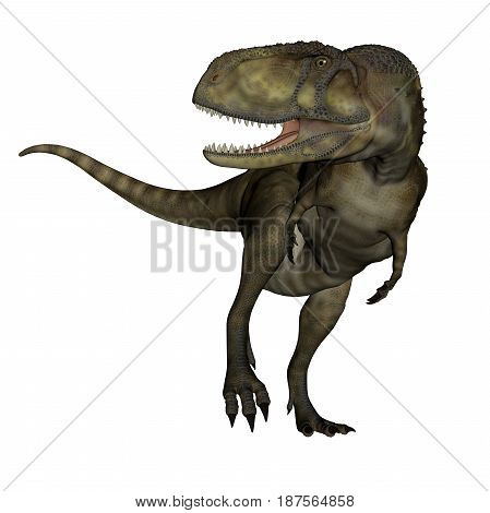 Abelisaurus dinosaur roaring isolated in white background - 3D render