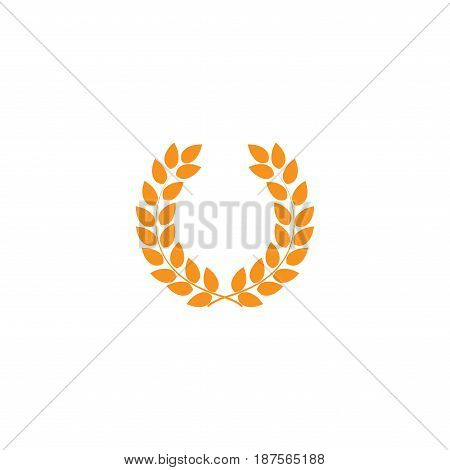 Wreath reward isolated. Modern symbol of victory and award achievement champion. Leaf ceremony awarding of winner tournament. Colorful template for badge tag. Design element. Vector illustration