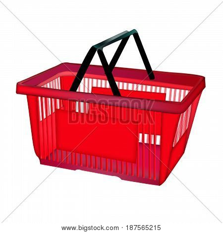 Red isolated basket for shopping. Icon with shopping basket