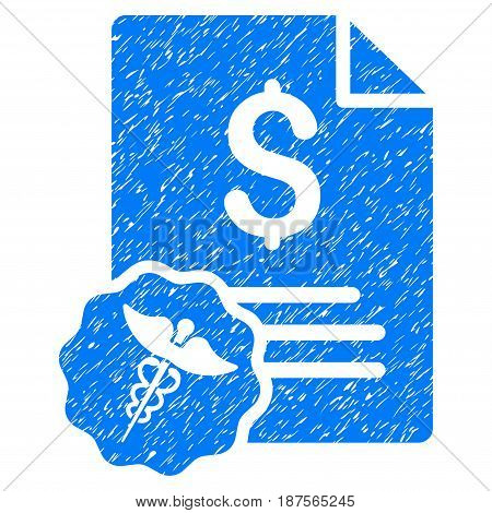 Grunge Medical Invoice icon with grunge design and dust texture. Unclean vector blue pictogram for rubber seal stamp imitations and watermarks. Draft sticker symbol.