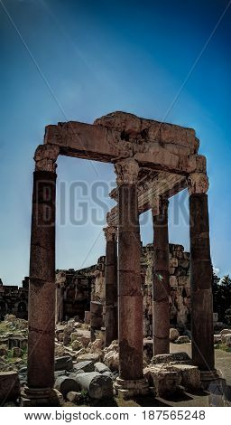 Ruins of Jupiter temple and great court of Heliopolis in Baalbek Bekaa valley Lebanon