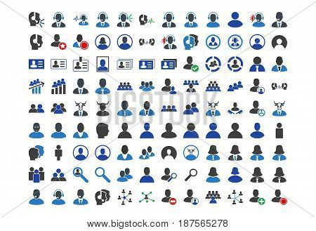 Call Center Clients flat vector icon collection. An isolated icons on a white background.