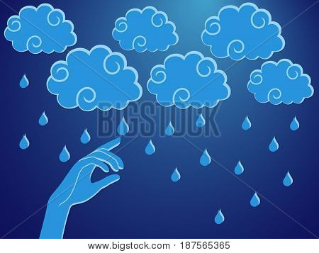 Human hand touching a rain droplet stylised conceptual vector illustration