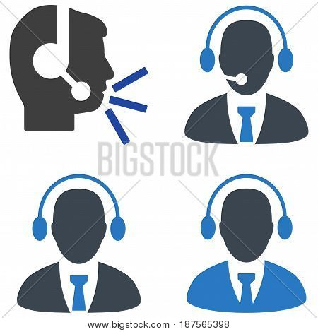 Call Center Manager flat vector pictogram set. An isolated icons on a white background.