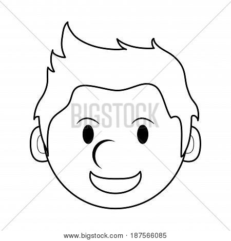 monochrome silhouette of cartoon face smiling man with hairstyle vector illustration