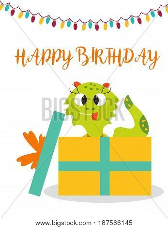 Birthday postcard or invitation with cute green monster and present