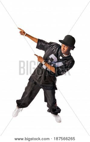 Cool young hip-hop dancer making a move
