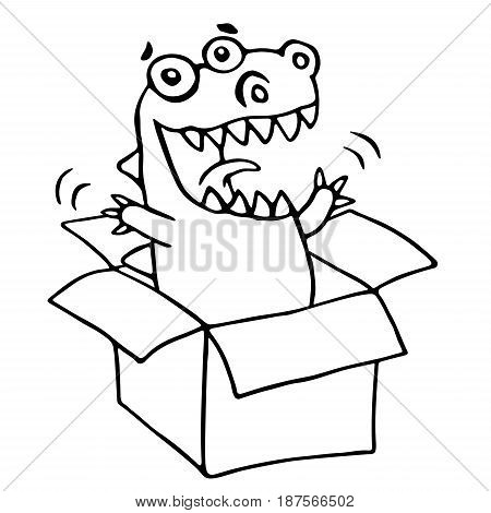 The dragon sitting in box. Vector illustration. Cute cartoon character.