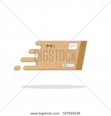 Fast delivery box flying vector icon flat cartoon style, carton package parcel box logotype, fast shipping logo symbol isolated on white