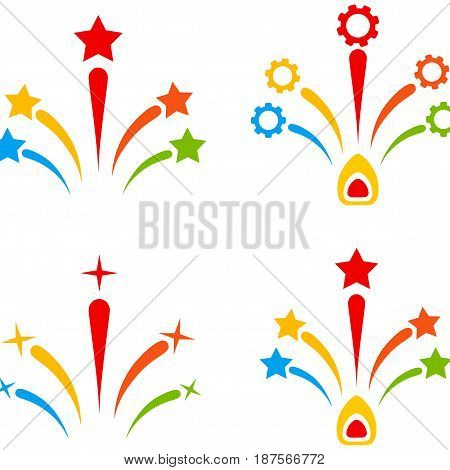 Fireworks flat vector pictogram set. An isolated icons on a white background.