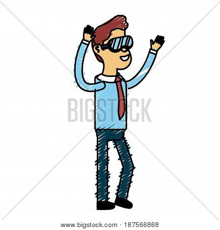 cute man with hands up and glasses, vector illustration