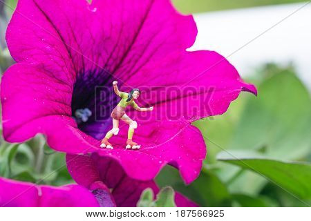 miniature roller skater on a pink flower
